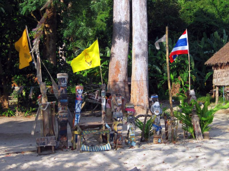 Moken totem poles at the Surin Islands