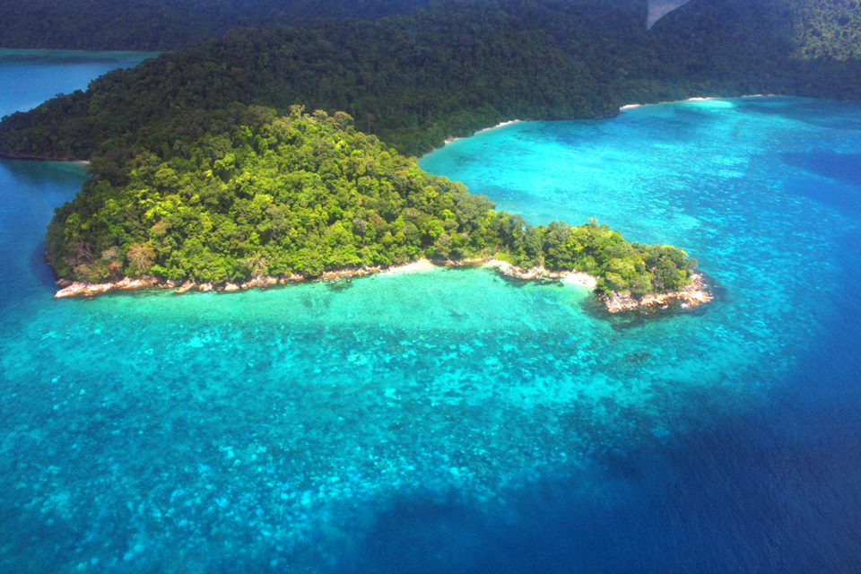 An aerial view of the Surin Islands
