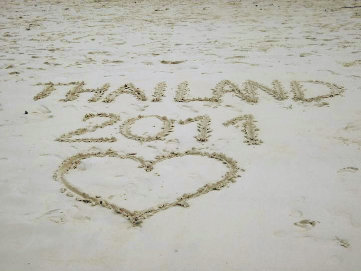 Thailand 2011 written in the sand