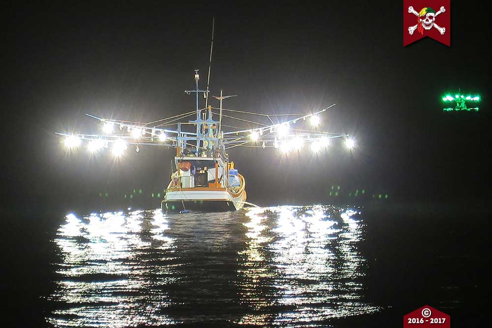 Thai fishing boat at night time