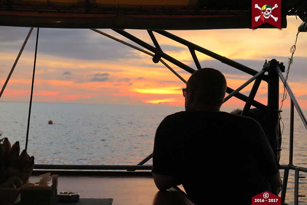Enjoying the sunset from the MV Reggae Queen
